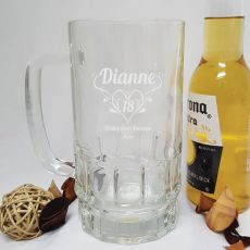 18th Birthday Engraved Personalised Glass Beer Stein (F)