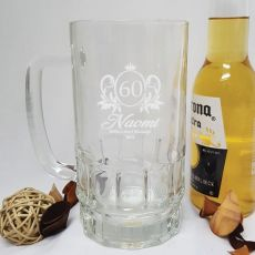 60th Birthday Engraved Personalised Glass Beer Stein (F)