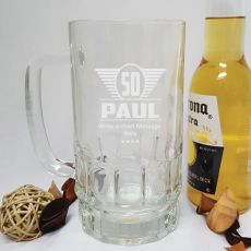 50th Birthday Engraved Personalised Glass Beer Stein (M)