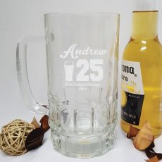 Engraved Personalised Glass Beer Stein (M)