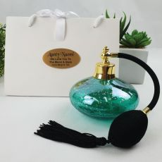 Aunt Perfume Bottle w Personalised Bag - Green Gold Fleck