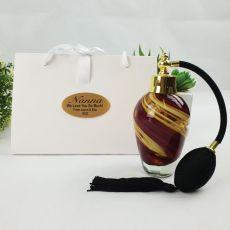 Nan Perfume Bottle Atomiser w Personalised Bag - Red Swirl