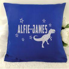 Glittered Dinosaur Cushion Cover - Blue
