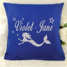 Glittered Mermaid Cushion Cover - Blue