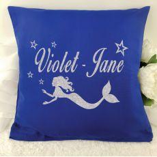Glittered Mermaid Cushion Cover - Blue