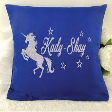 Glittered Unicorn Cushion Cover - Blue