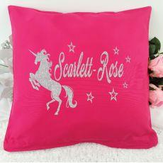 Glittered Unicorn Cushion Cover - Pink