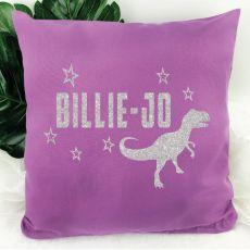 Glittered Dinosaur Cushion Cover - Grape