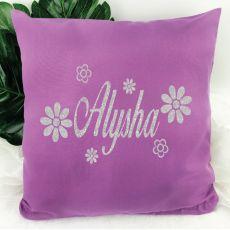 Glittered Flower Cushion Cover - Grape