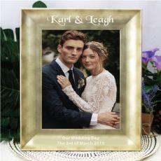 Personalised Wedding  5 x 7 Engraved Gold Frame