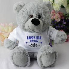 Personalised 13th Birthday Teddy Bear - Grey