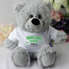 Personalised Birthday Teddy Bear - Grey