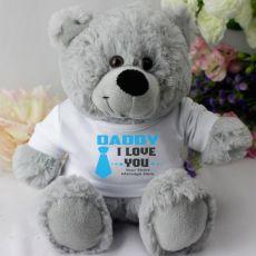 Dad  Personalised Teddy Bear Grey Plush