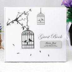 Personalised 1st Birthday Guest Book - Bird Cage