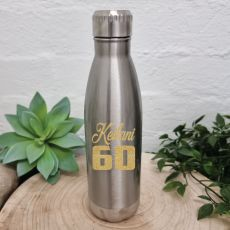60th Birthday Silver Stainless Steel Drink Bottle