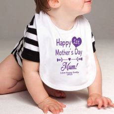 Personalised 1st Mothers Day Bib - Heart