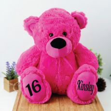 Personalised 16th Birthday Teddy Bear 40cm Plush  Hot Pink
