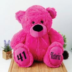Personalised Birthday Teddy Bear 40cm Plush Hot Pink