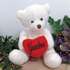 Grandma white Bear with Love Heart 20cm