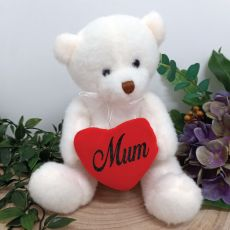 Mum White Bear with Love Heart 20cm