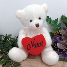 Nana White Bear with Love Heart 20cm