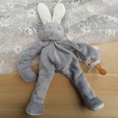 Baby Dummy Holder - Grey Bunny