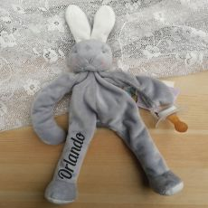 Personalised Baby Dummy Holder - Grey Bunny