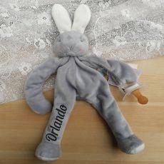 Personalised Baby Dummy Holder - Grey Bunny