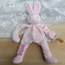 Personalised Baby Dummy Holder - Pink Bunny