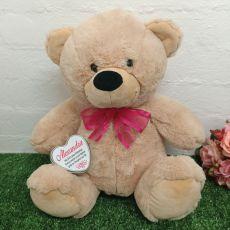 Baptism Keepsake Bear with heart Creamy / Pink 40cm