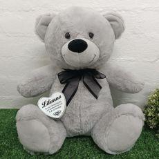 Christening Keepsake Bear with heart Grey / Black 40cm
