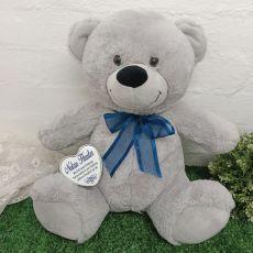 Christening Keepsake Bear with Heart Grey / Blue 40cm