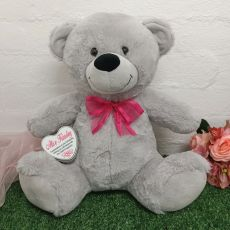 Christening Keepsake Bear with heart Grey / Pink 40cm