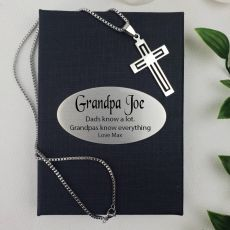 Grandad Cross Pendant Necklace in Personalised Box