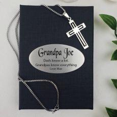 Grandad Cross Pendant Necklace in Personalised Box