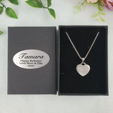 Heart Pendant Birthday Necklace in Personalised Box