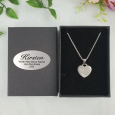 Coach / Teacher Heart Pendant Necklace in Personalised Box