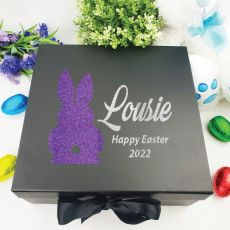 Personalised Black Easter Box - Bunny