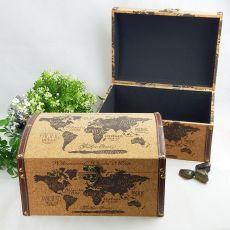 World Map Cork Treasure Box