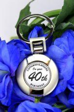 40th Birthday Gift Boxed Keyring