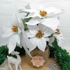 Coach Christmas Poinsettia 6 Artifical Flowers White (38cmH)