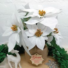 Grandma Christmas Poinsettia 6 Artifical Flowers White (38cmH)