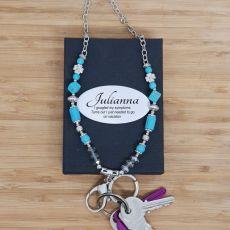 Personalised Lanyard Key holder Necklace - Teal