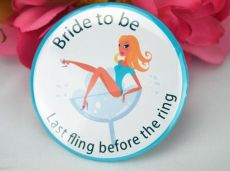 Last Fling Hens Night Party Badge Blue