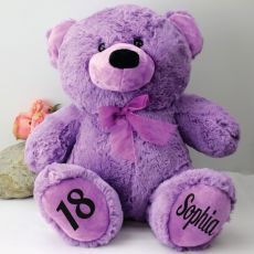 Personalised 18th Birthday Teddy Bear 40cm Plush Lavender