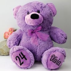 Personalised Birthday Teddy Bear 40cm Plush Lavender