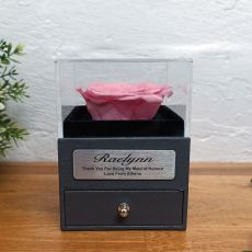 Eternal Pink Rose Maid of Honour Jewellery Gift Box