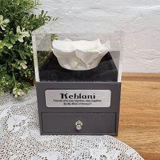 Everlasting White Rose Maid of Honour Jewellery Gift Box