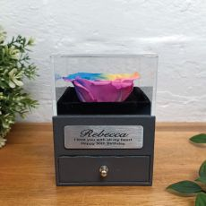 Eternal Rainbow Rose 50th Jewellery Gift Box