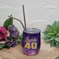 40th Birthday Eco Tumbler Purple Galaxy